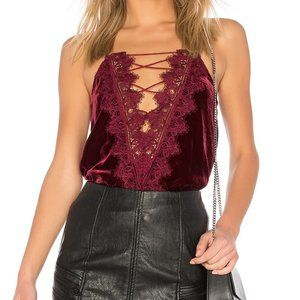 CAMI NYC The Charlie Velvet Cami in Black Cherry